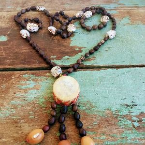 Vintage Real Drum Tassel Necklace with Bean Beads